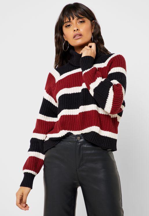Striped Turtle Neck Sweater