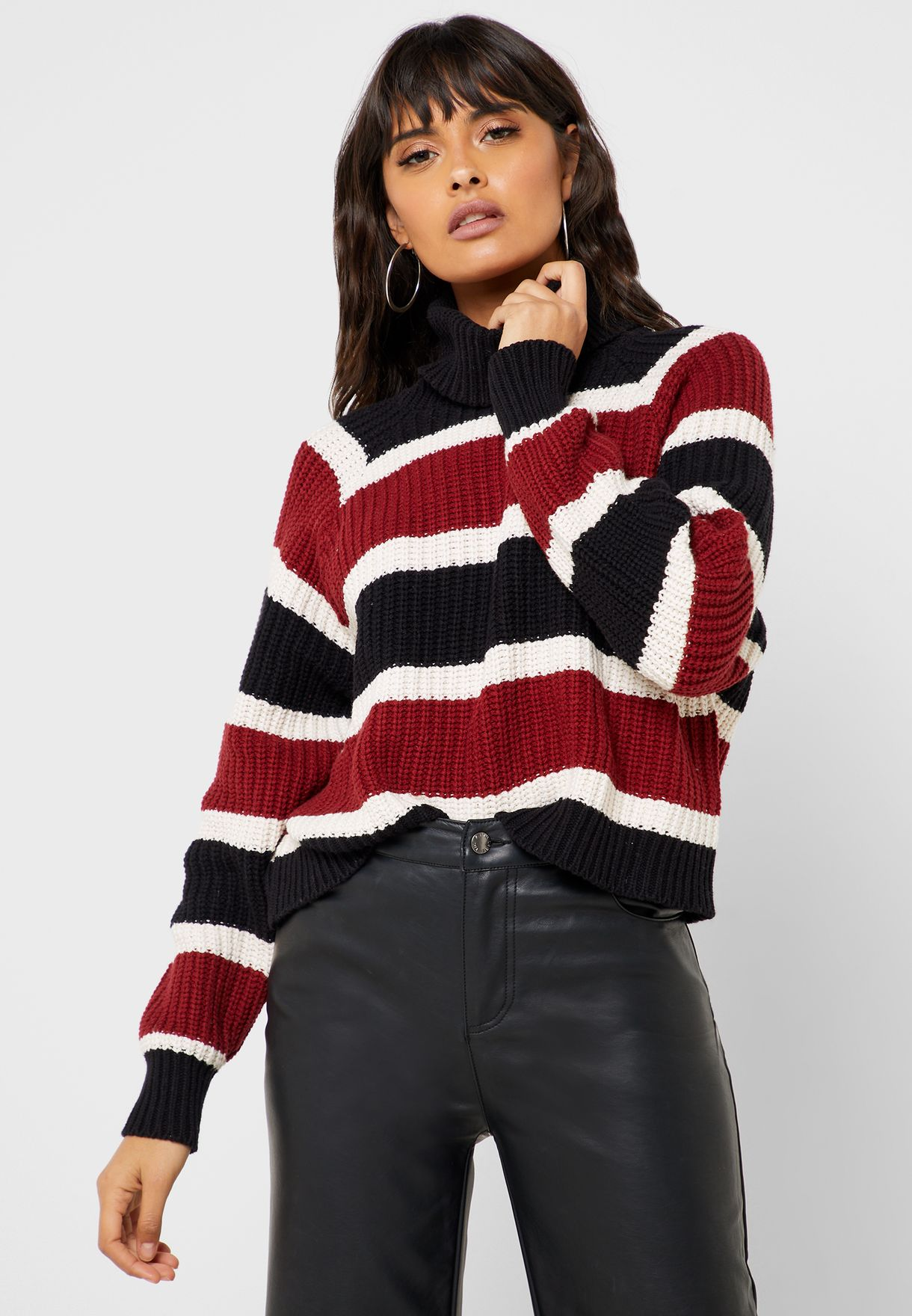 Striped Turtle Neck Sweater