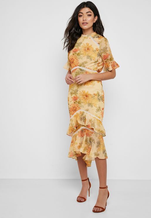 Floral Print High Neck Dress