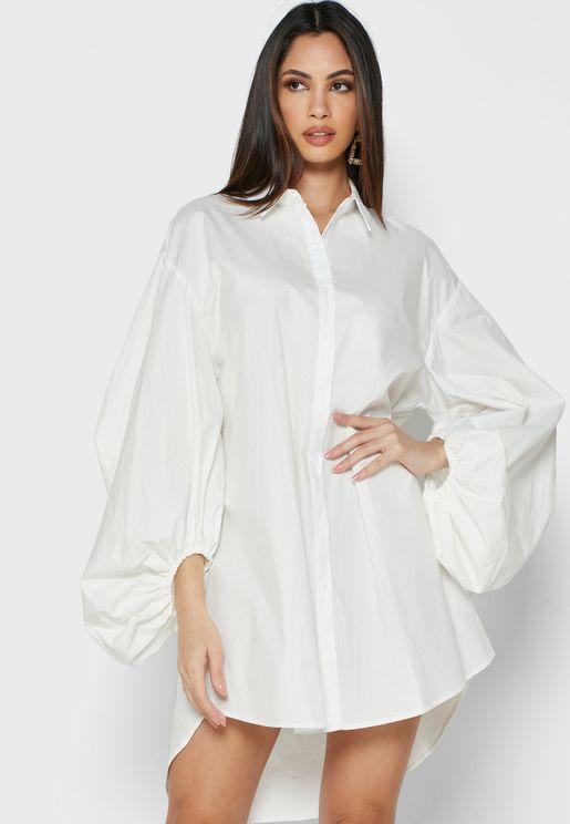 Puff Sleeve Oversized Shirt Dress