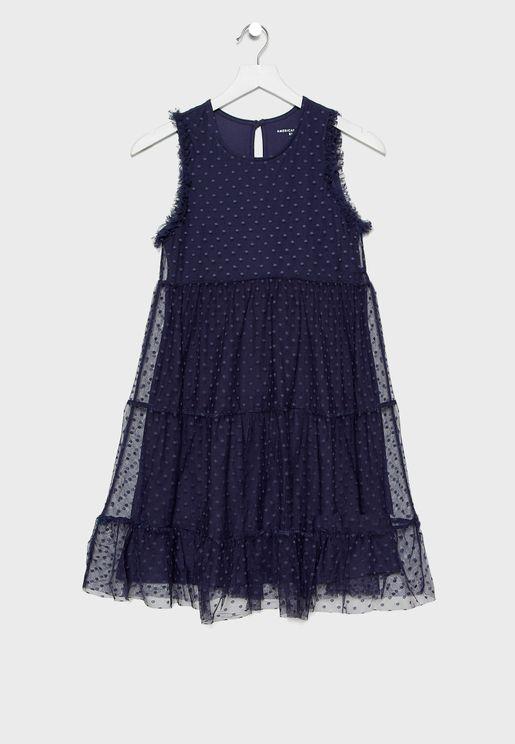 Kids Polka Dot Mesh Dress