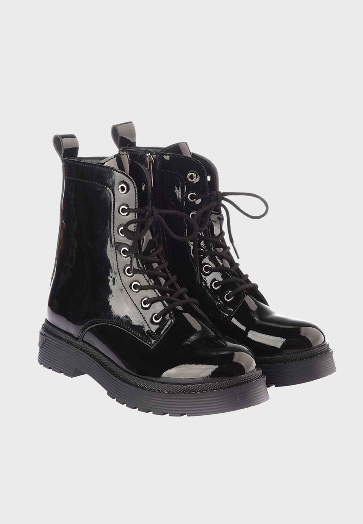 Lace Up Low Heel Boot