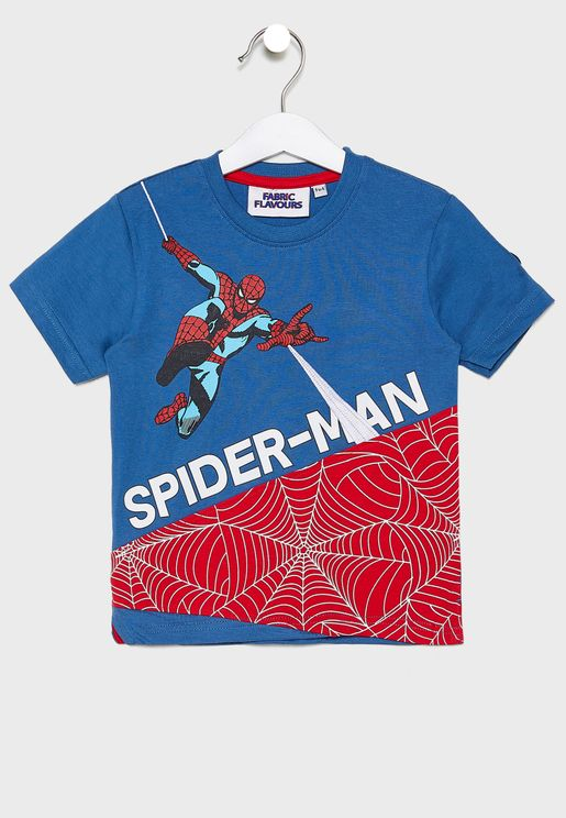 Kids Spiderman Cut And Sew T-Shirt