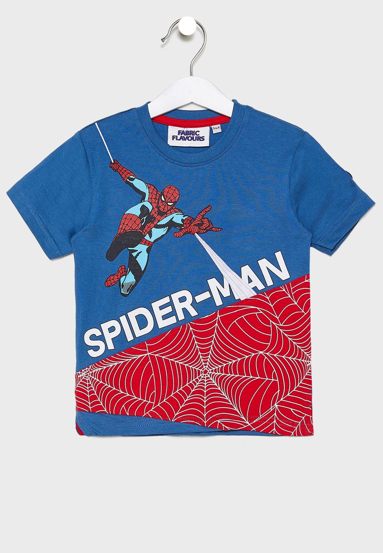 Kids Spiderman Cut And Sew T-Shirt