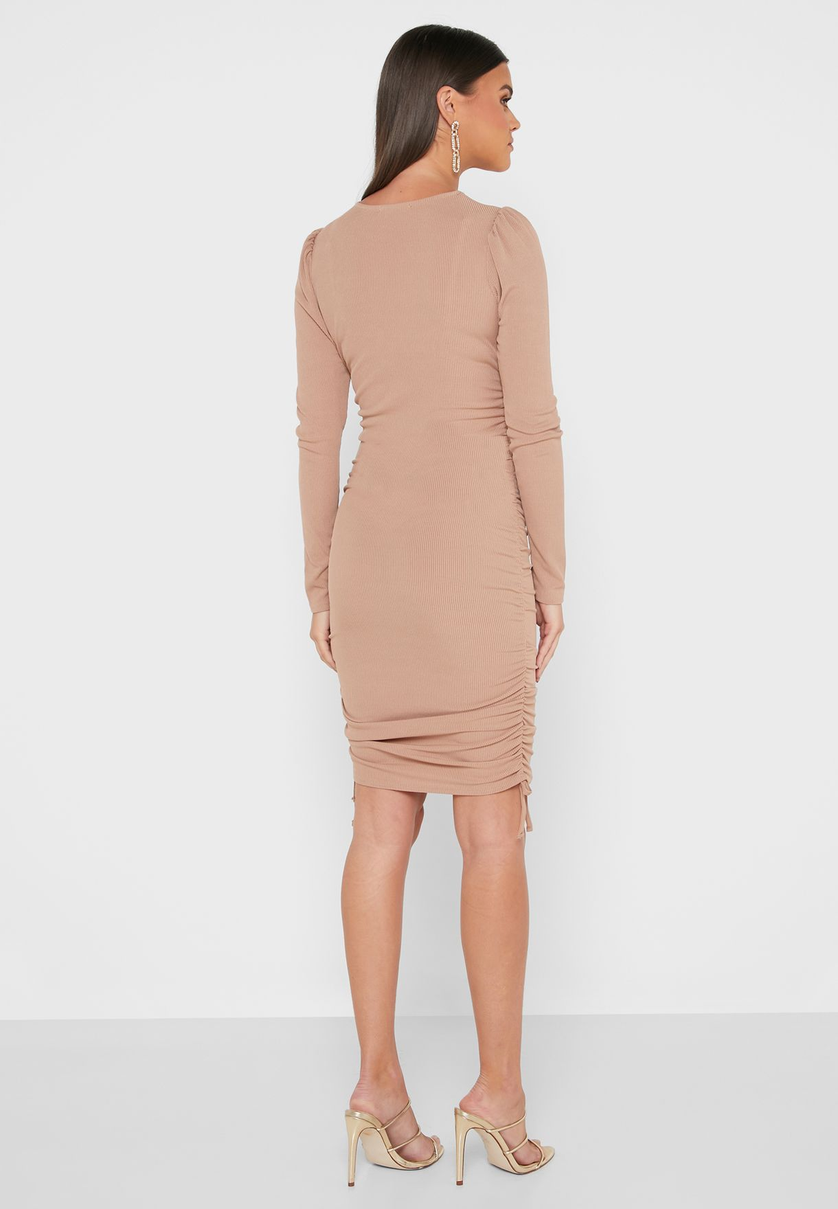 Ribbed Ruched Bodycon Dress