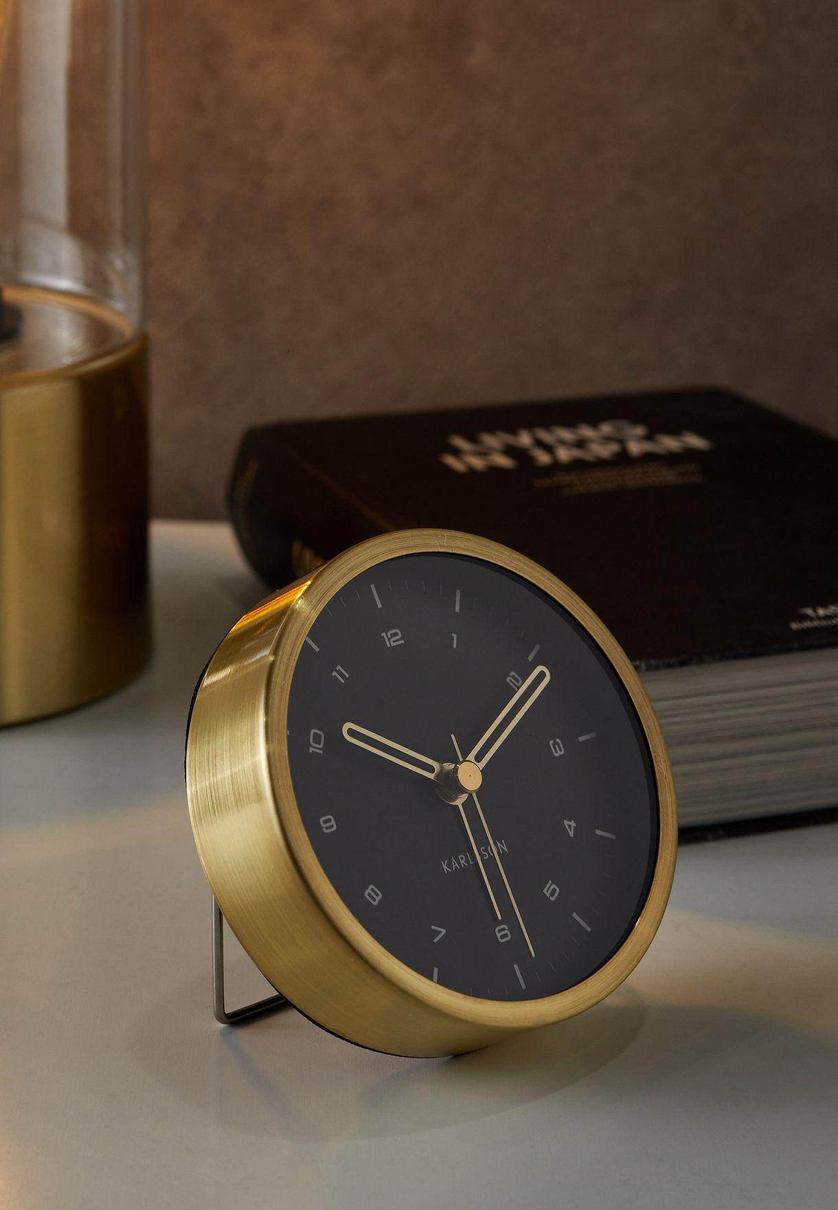 Tinge Brushed Gold Steel Alarm Clock