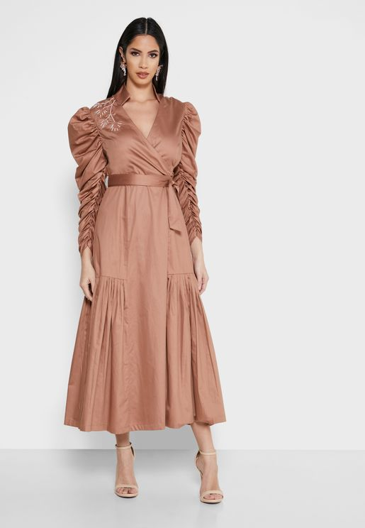 Embellished Pleated Hem Dress