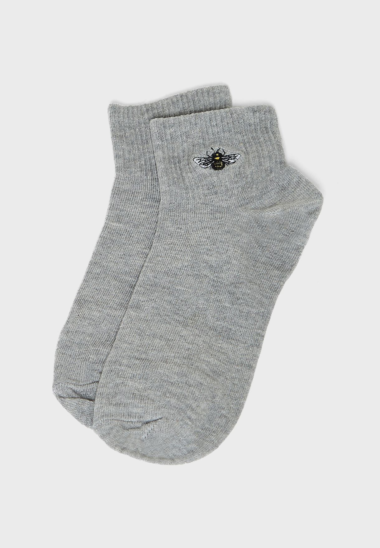 Bee Embroidered Ankle Socks