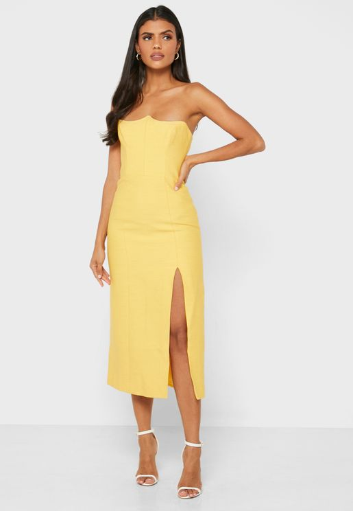 Beyond Control Side Split Bandeau Dress