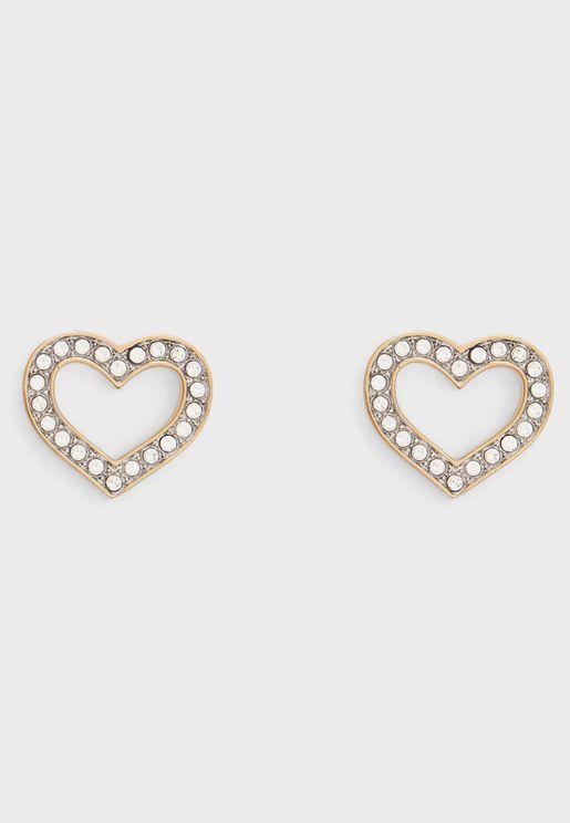 Crystal Heart Frame Earing
