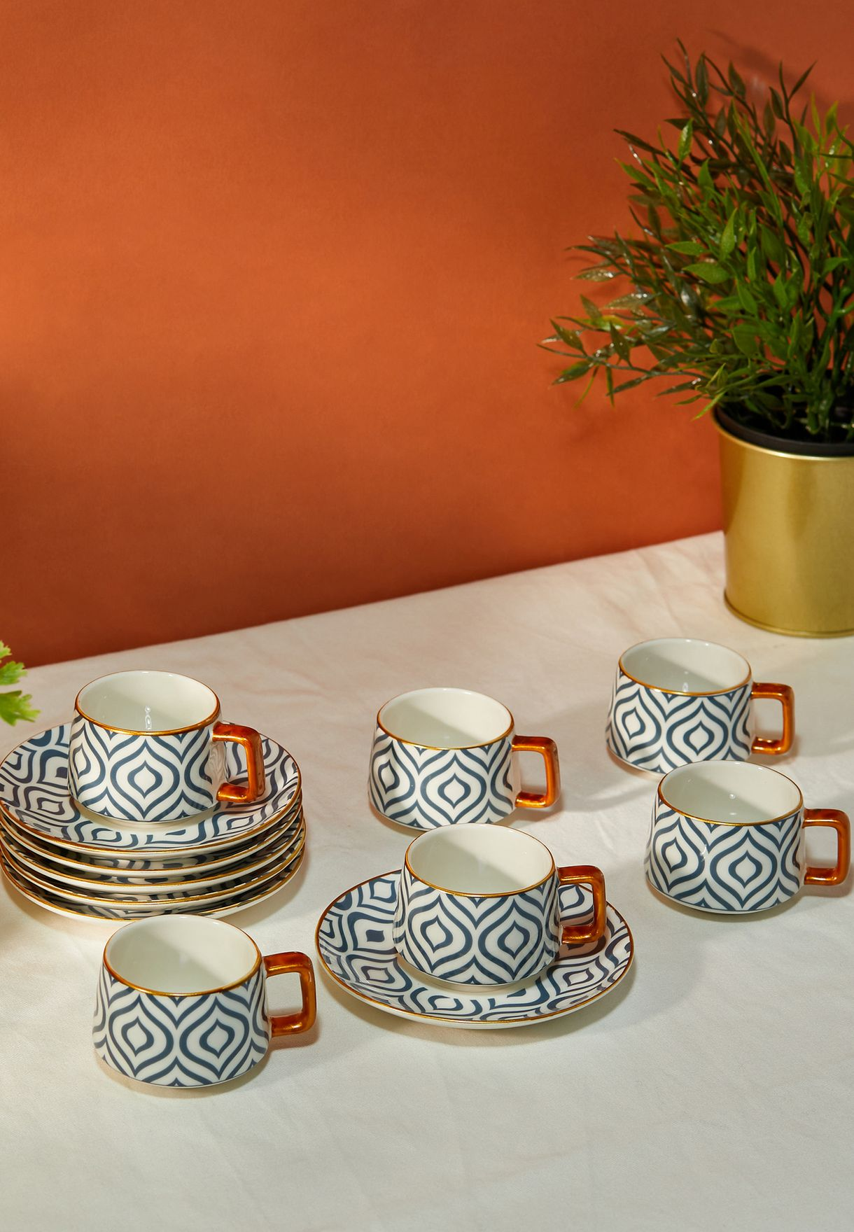 Set Of 6 Printed Cups and Saucers