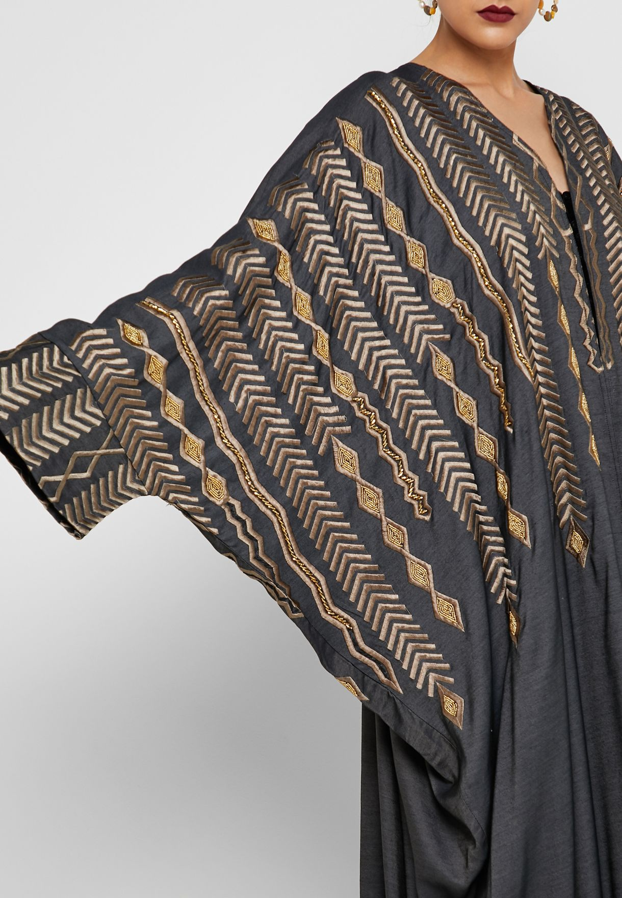 Contrast Color Embroidered Abaya