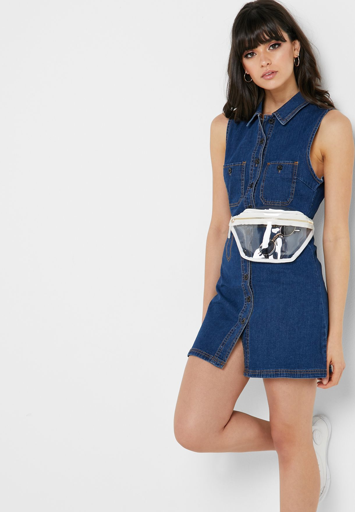 a481848c Shop Forever 21 blue Denim Button Down Dress 279289 for Women in UAE ...