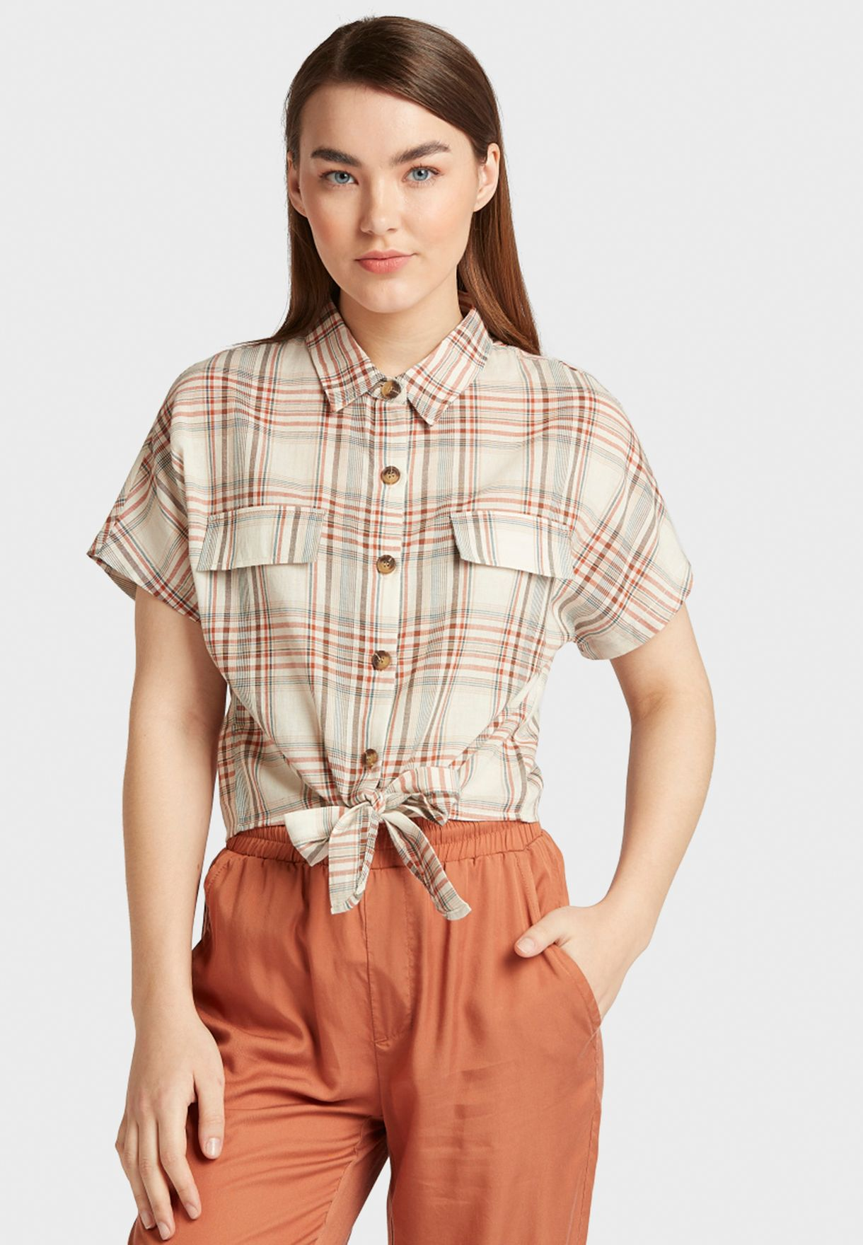 Tie Front Short Sleeve Shirt