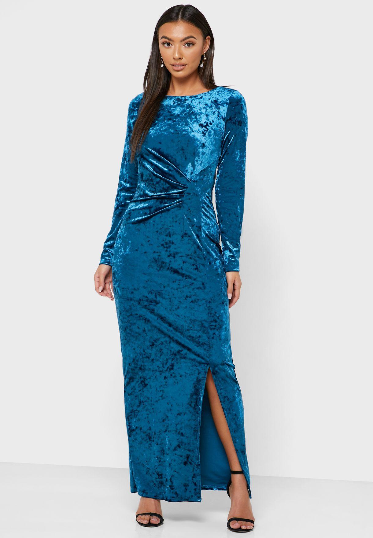 Side Split Velvet Bodycon Dress