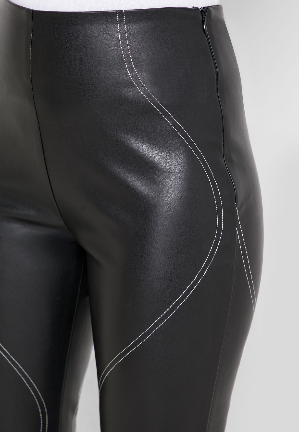 Contrast Detail Pu Pants