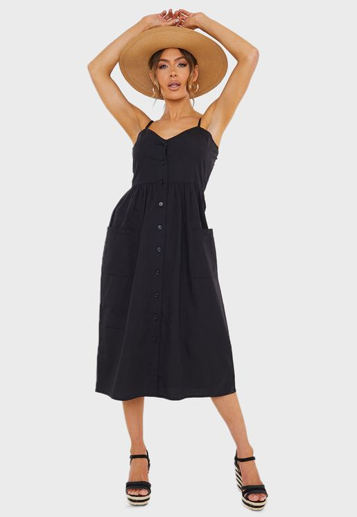 فستان ميدي بدون اكمام