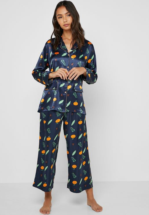 9ac791f630a0 Leaf Print Shirt   Pants Pyjama Set