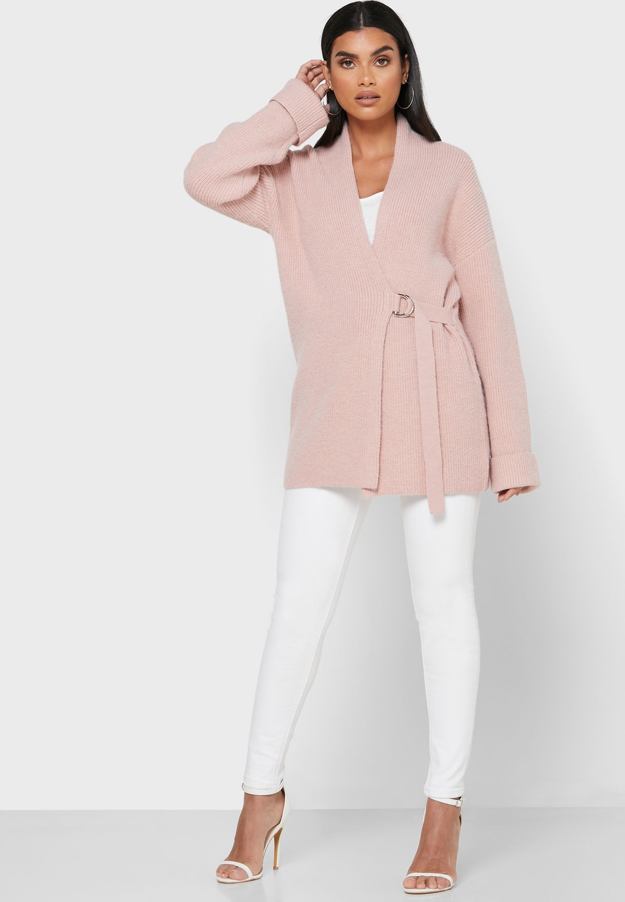 Wrap Front Buckle Detail Cardigan