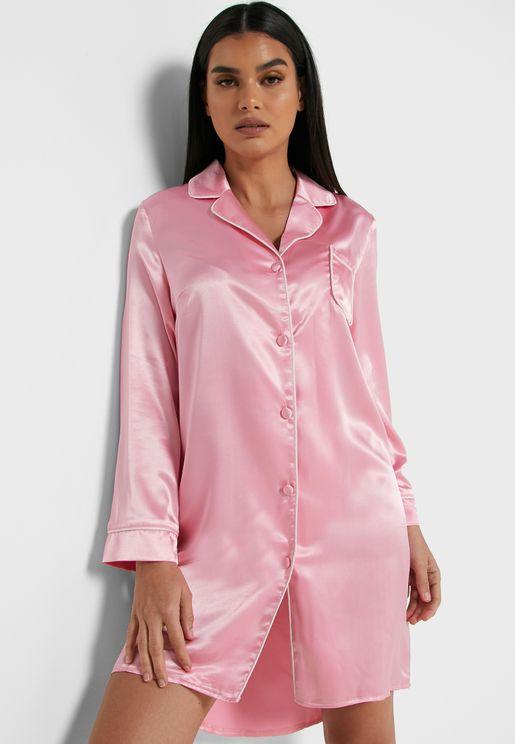 Satin Shirt Nightdress
