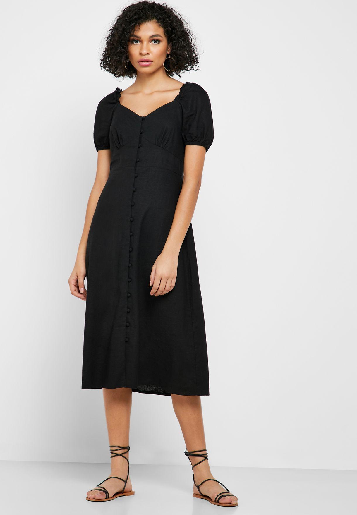 Puffed Sleeve Button Through Dress