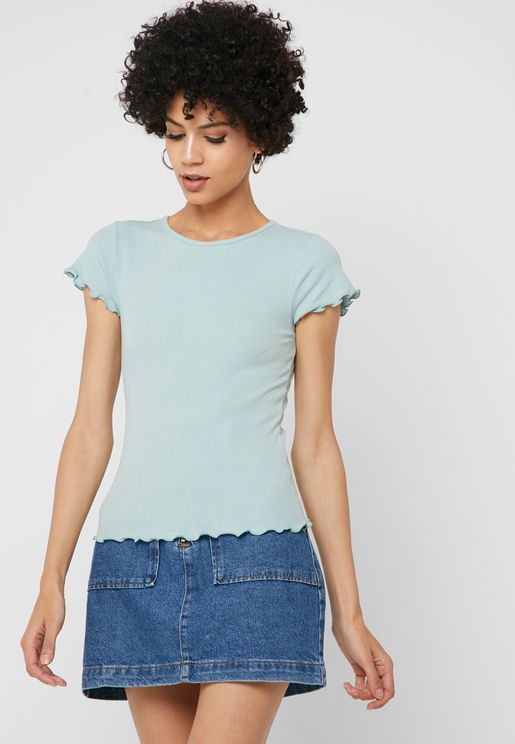 Ribbed Cropped T-shirt