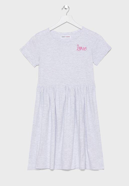 Teen Graphic Textured Dress