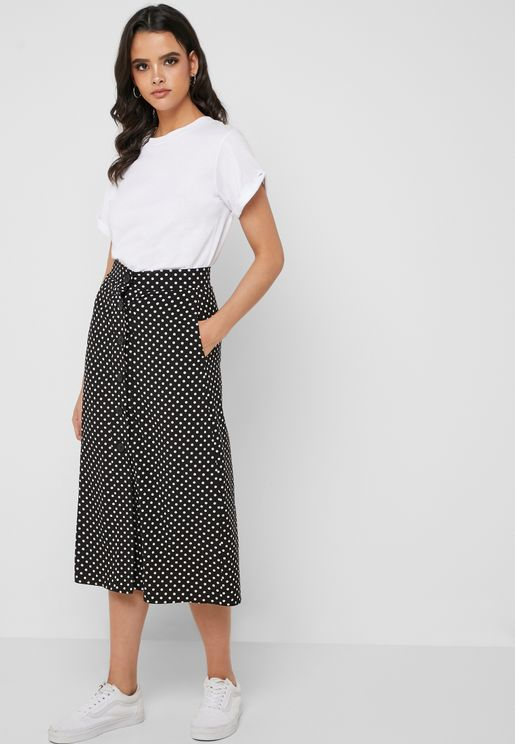 Polka Dot Button Down Midi Skirt