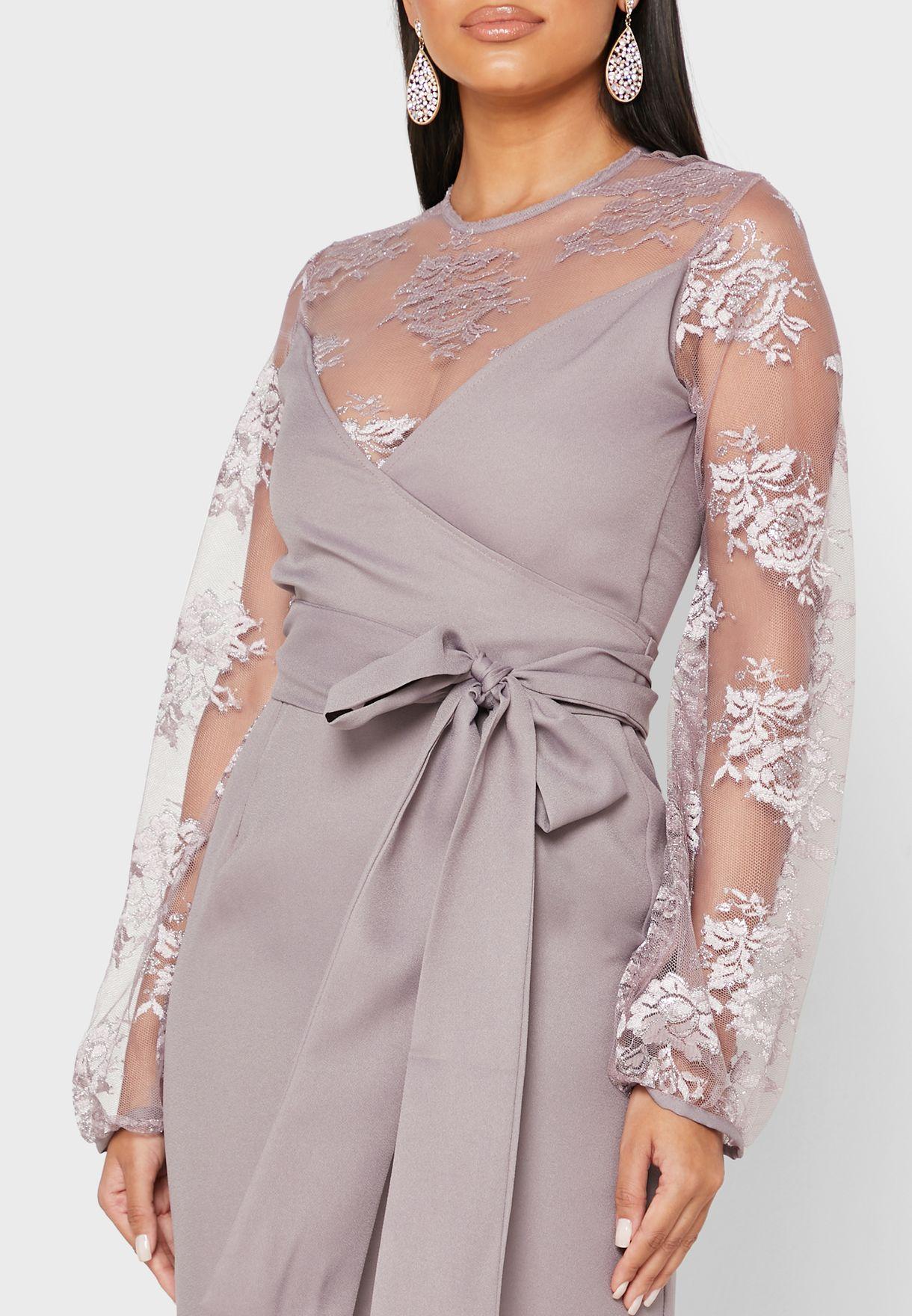 فستان شبك بنمط لف
