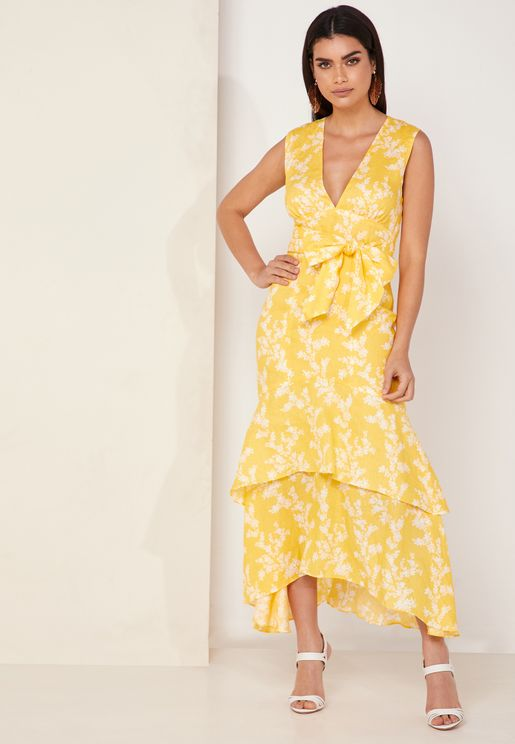 Fallen Floral Print Tie Waist Tierred Dress