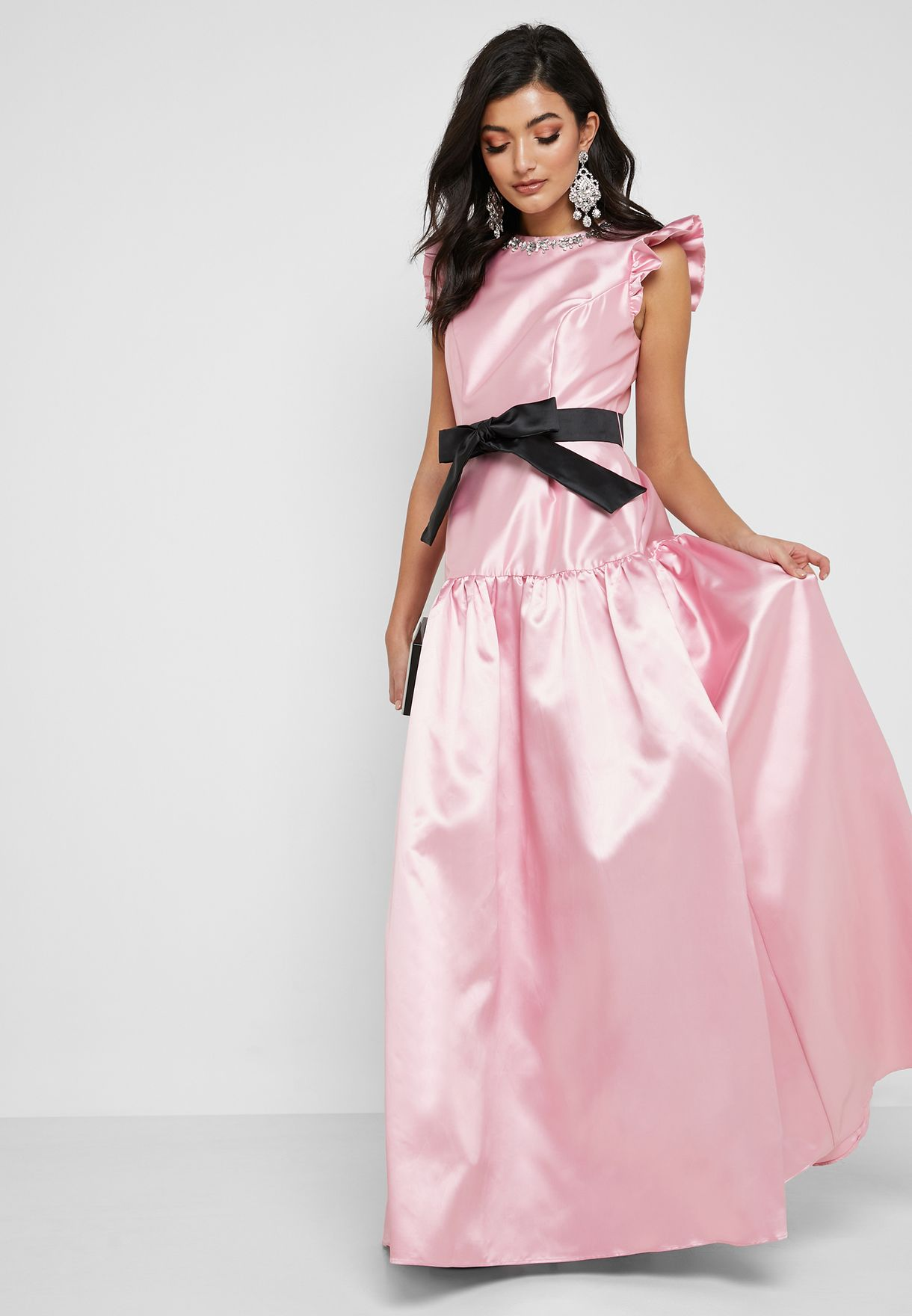 Frill Sleeve Belted Maxi Dress