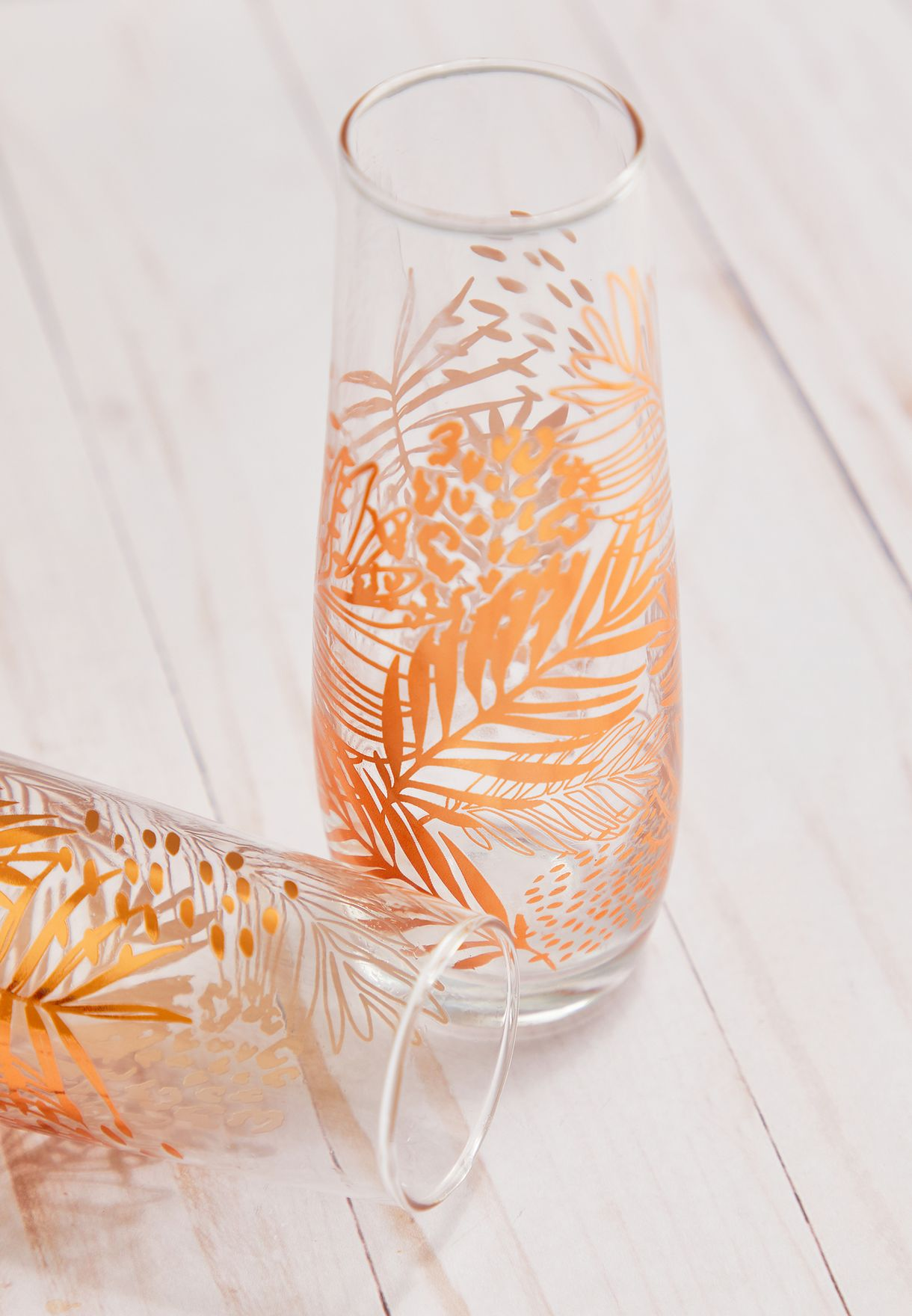 2 Pack Palm Printed Glass