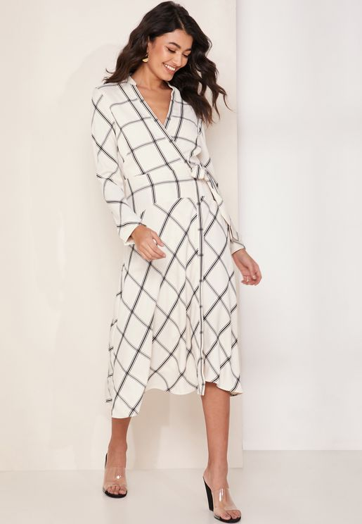 Checked Asymmetric Wrap Dress