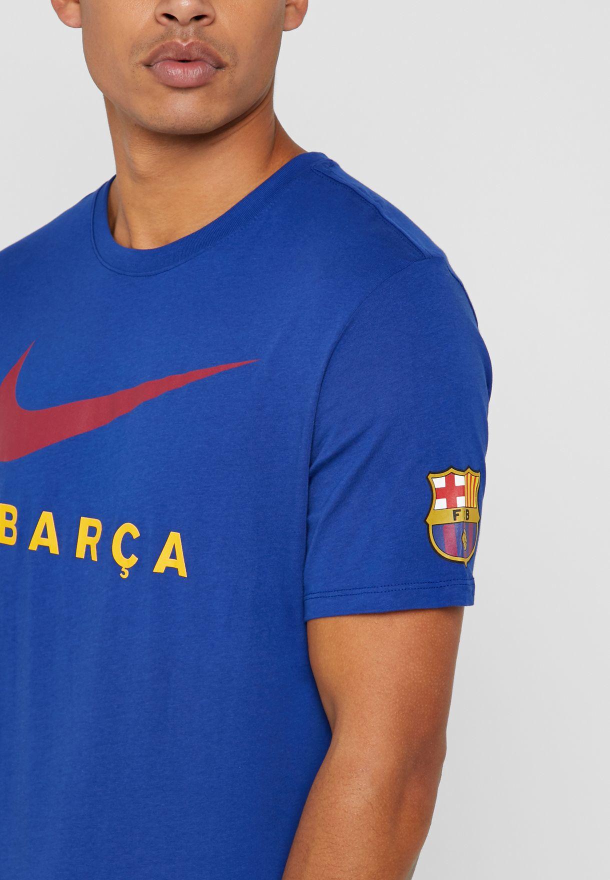 17c2f761a Shop Nike blue FC Barcelona Large Swoosh T-Shirt AV5056-455 for Men ...