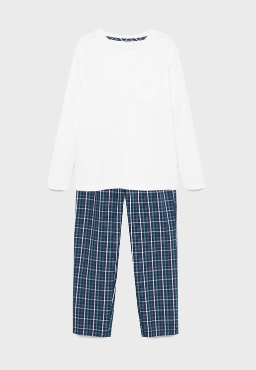 Kids Essential T-Shirt + Printed Pyjama Set