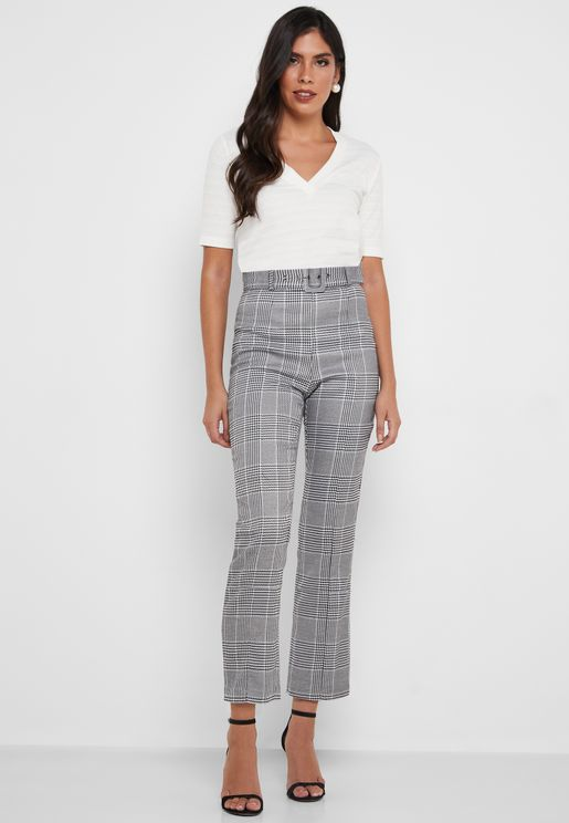 High Waist Checked Crop Pants