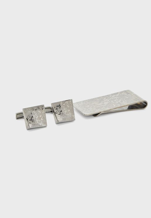 Floral Cufflink And Money Clip Gift Set