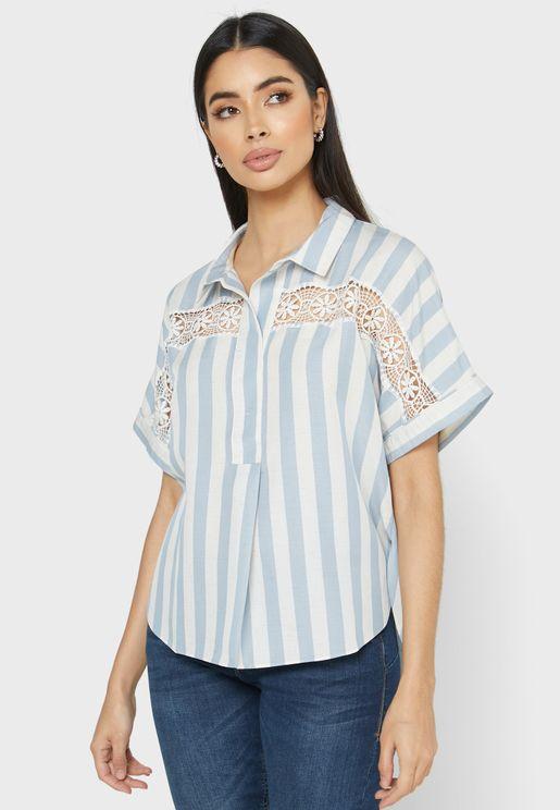 Lace Detail Striped Shirt