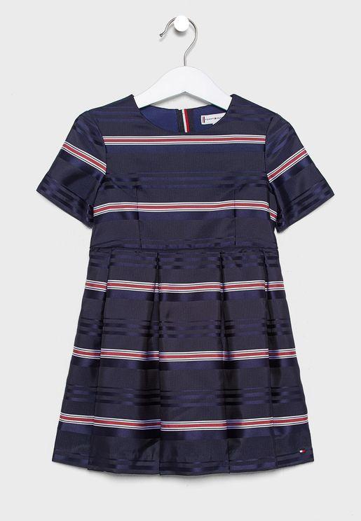 Kids Striped Dress + Knicker Set
