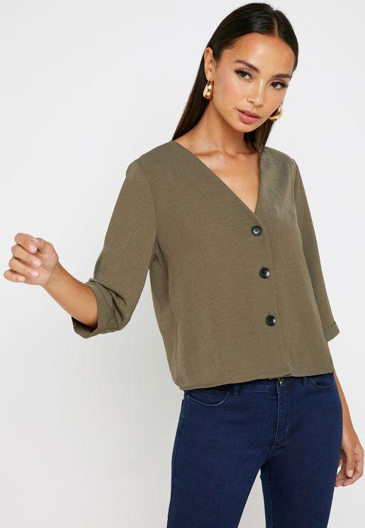 3/4 Sleeve Boxy Shirt