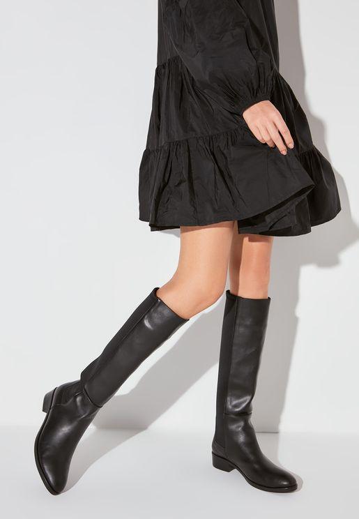Casual Mid Heel Knee Boot