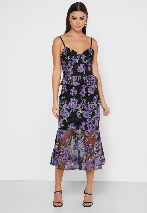 Floral Print Mesh Detail Dress