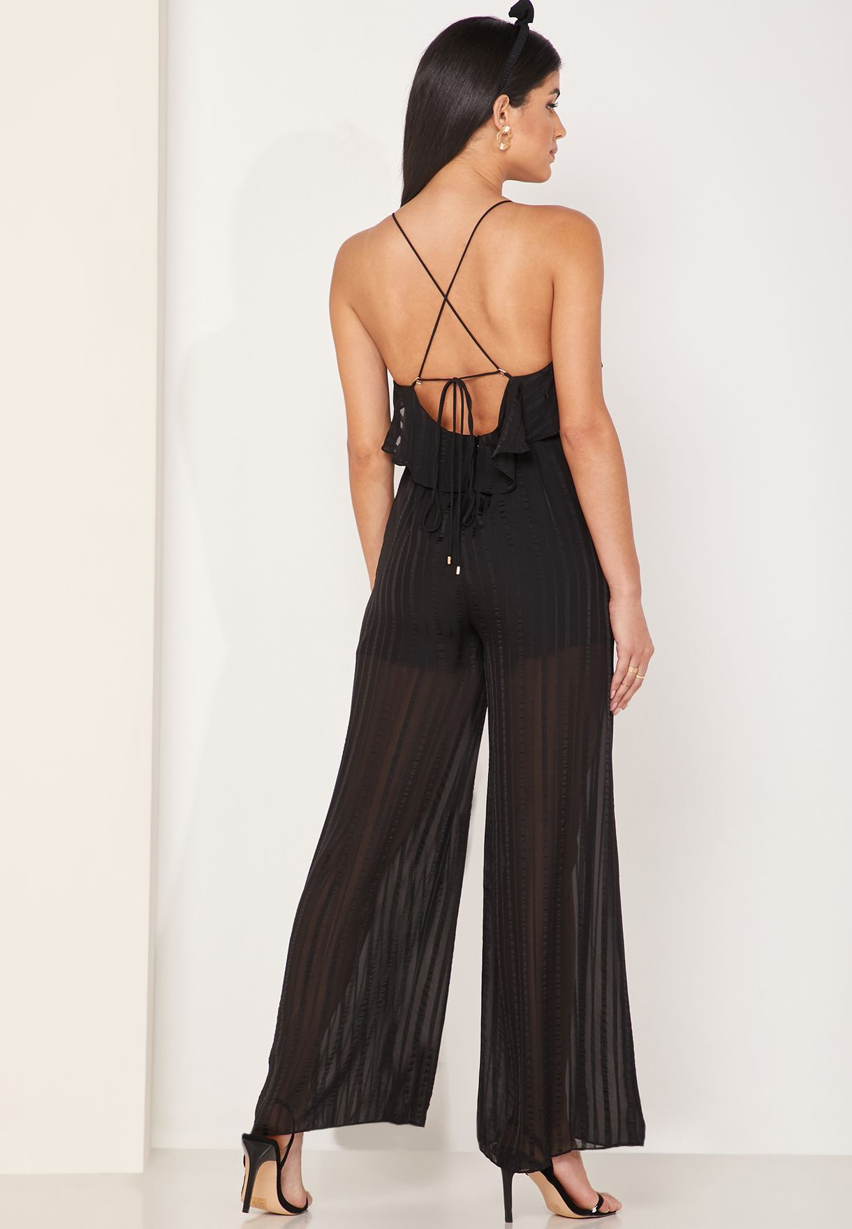 Runway Ruffle Detail Pleated Jumpsuit