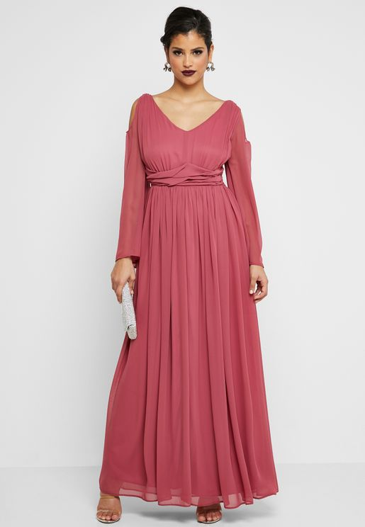 Cold Shoulder Detail Waist Maxi Dress