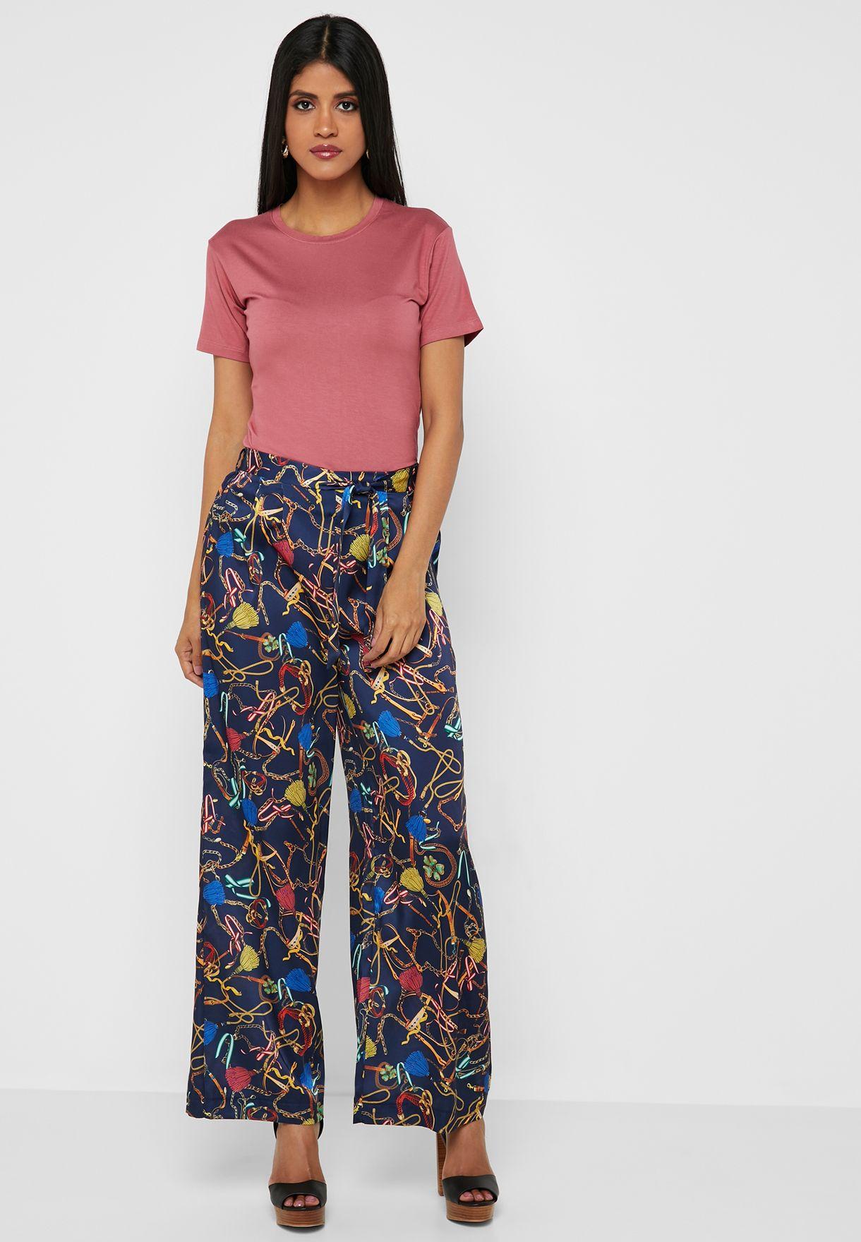 Belted Printed Wide Leg Pants