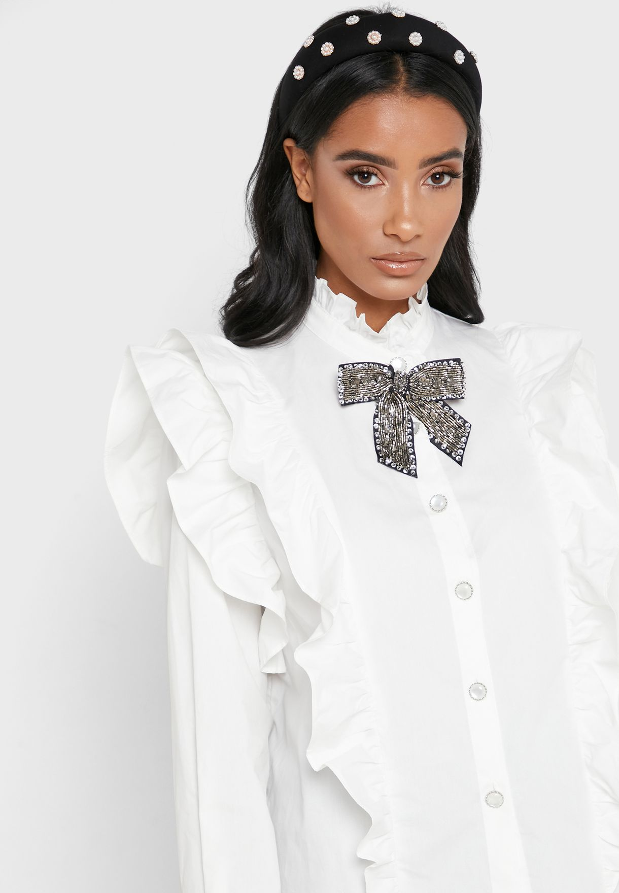 Ruffle Trim Bow Detail Shirt