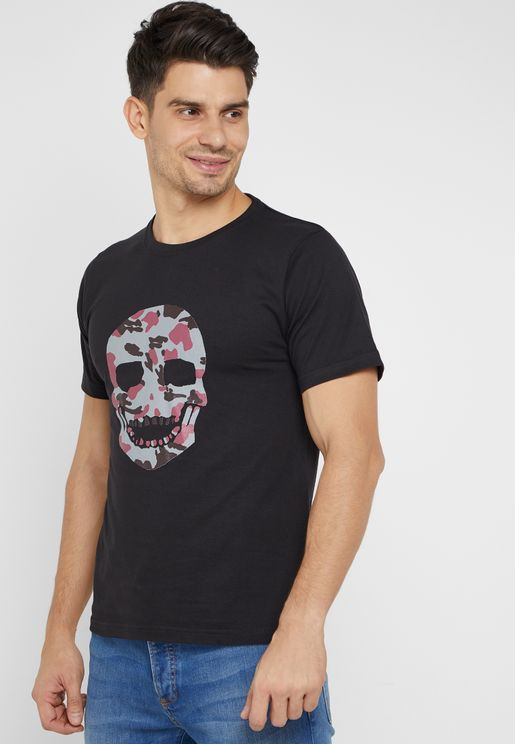 Camo Skull Print Crew Neck T-Shirt