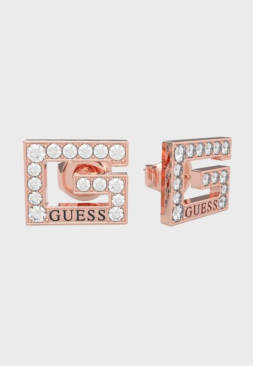 Squared Pave Stud Earrings