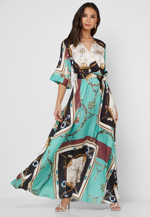 Mixed Wrap Front Maxi Dress