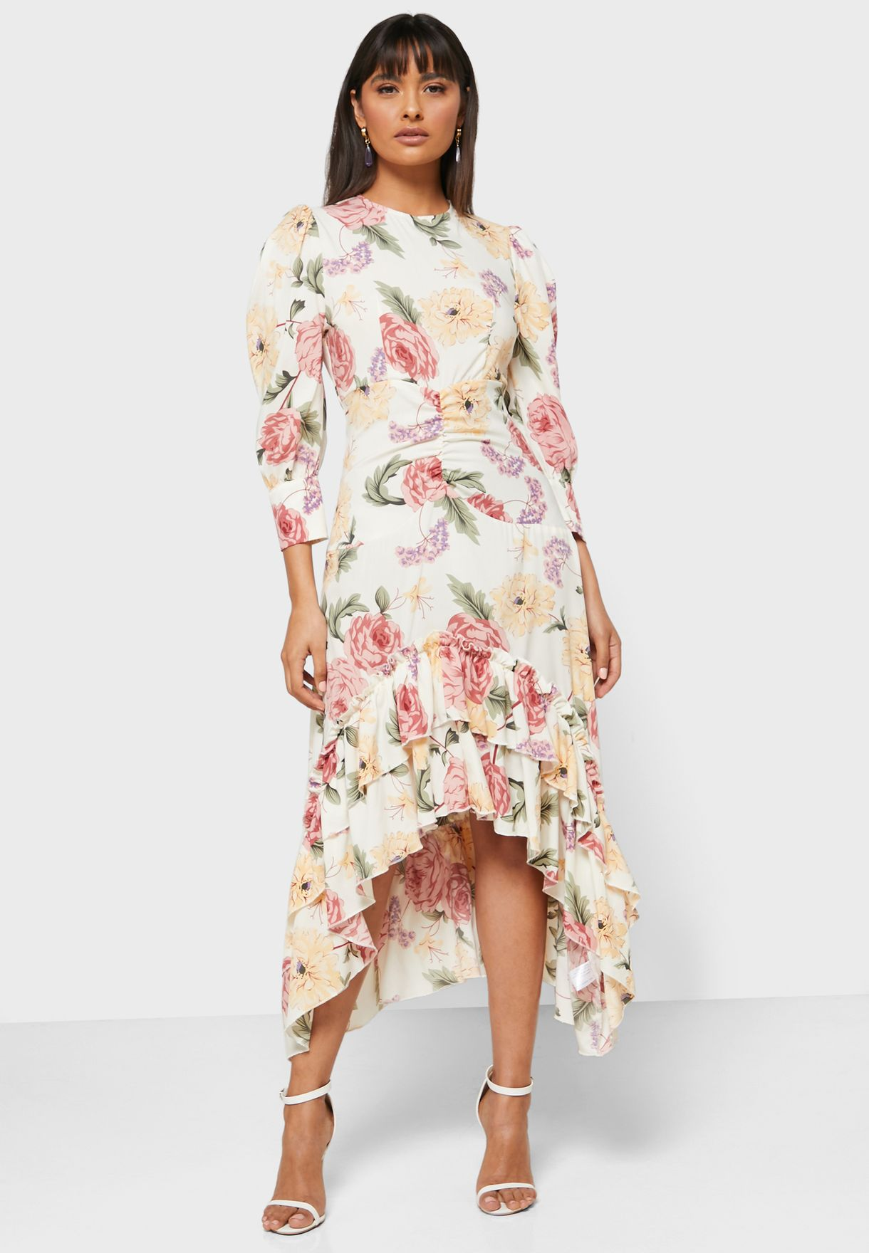 Floral Print Ruffle Hem Midi Dress
